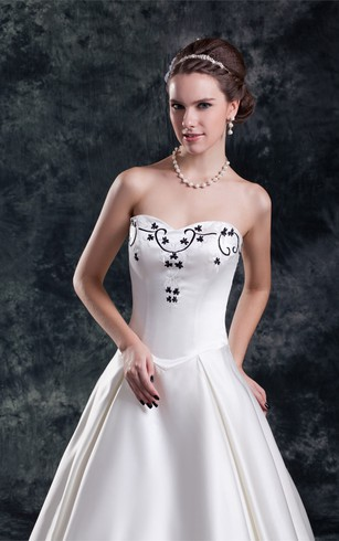 Strapless Pleated Satin Ball Gown With Embroideries