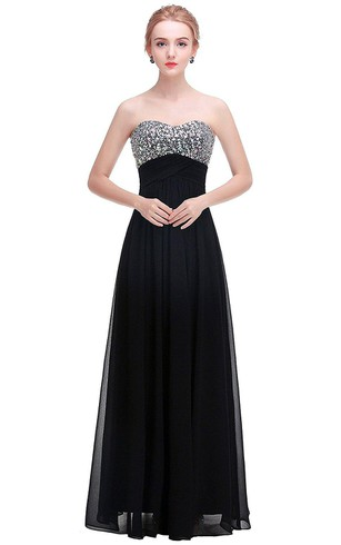 A-line Sweetheart Chiffon Gown with Sequined Bodice