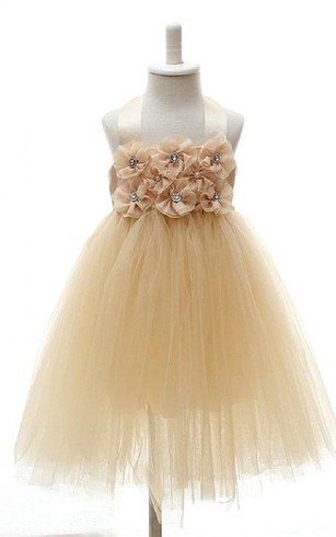 Sleeveless Haltered A-line Dress With Flowers and Bow