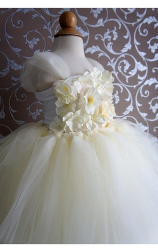 Cap Sleeve Floral Top Tiered Tulle Ball Gown