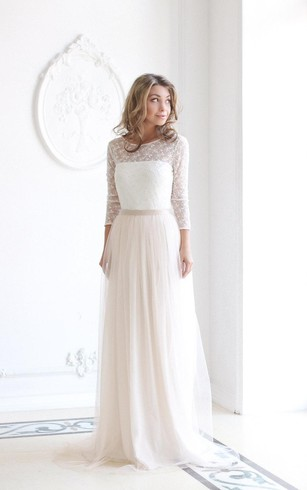 Cheap long sleeve wedding dresses big sale dorris wedding scoop neck long sleeve tulle wedding dress with lace bodice junglespirit