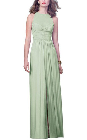 Illusion Jewel Neck Long Chiffon Dress with Front Split