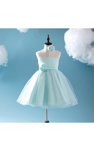 Criss-cross Spaghetti Straps A-line Tulle Short Dress With Flower Sash