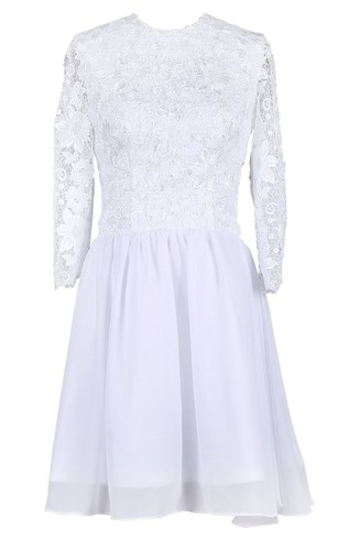 Scoop Long Sleeve Lace Bodice Bridal Dress
