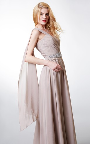 Charming One-shoulder Chiffon Gown With Beaded-detailing