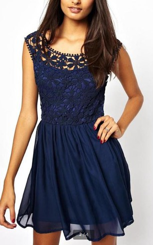 Cap Sleeve Jewel Neck Short Chiffon Dress With Lace Bodice