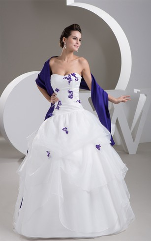 Purple and white wedding dresses dorris wedding sweetheart ruffled wrap and ball gown with lace junglespirit Image collections