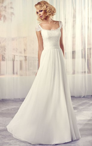 Long Square Cap Sleeve Lace Chiffon Wedding Dress With V Back