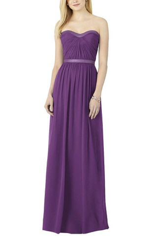 Strapless Ruched Long Bridesmaid Dress