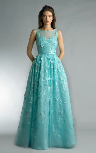 A-line Floor-length Jewel Sleeveless Tulle Illusion Dress