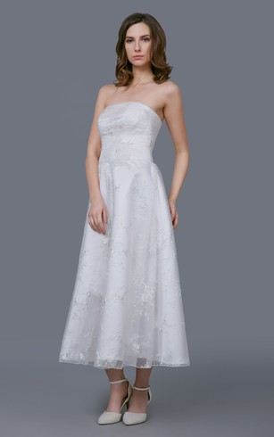 Strapless Organza Gown With Floral Sash and Embroidery