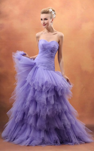 Light purple wedding gowns lavenderlilac bridal dress dorris sweetheart ruching dress with tiered ruffles junglespirit Choice Image