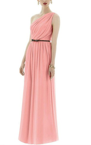 One Shoulder Chiffon Long Dress with Belt