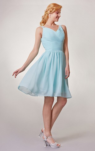 Short Sleeveless Chiffon Dress With Beading