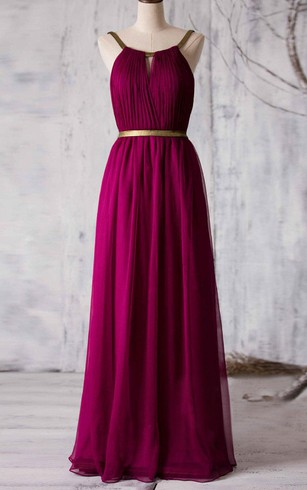 Allover Pleated A-line Chiffon Floor Length Dress With Back Keyhole