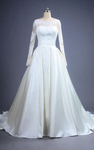 Long Sleeve Lace and Satin A-Line Bridal Dress With Low-V Back