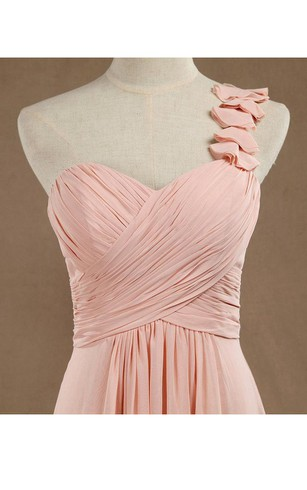 One Shoulder Ruched Top A-line Pleated Chiffon Long Dress