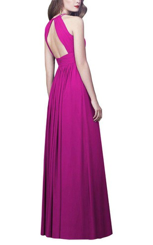 High-neck Ruched Floor-length Chiffon Dress