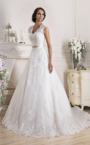 Lace Cap Sleeve Wedding Dress - Dorris Wedding