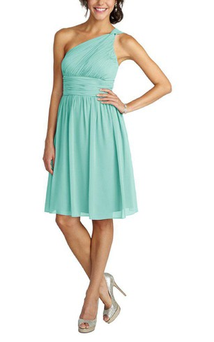 One Shoulder Ruched Short Chiffon Dress