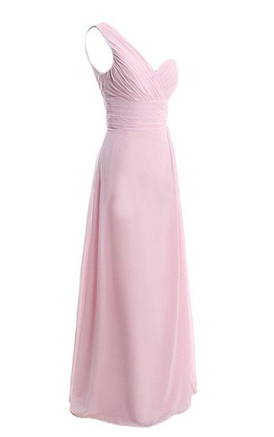 Refined One-shoulder Chiffon Dress With Ruching