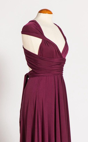 V Neck Sleeveless Empire Pleated A-line Jersey Long Dress With Bandage