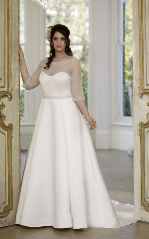 A-Line Floor-Length Scoop Neck Half Sleeve Illusion Satin Court Train Low-V Back Beading Dress