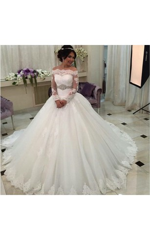 Off Shoulder Tulle Ball Gown With Lace Bodice And Long Sleeves