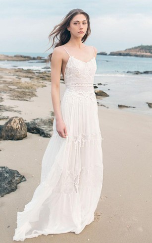Boho bridal dress cheap bohemian wedding gowns dorris wedding spaghetti sleeveless chiffon beach boho wedding dress junglespirit Gallery