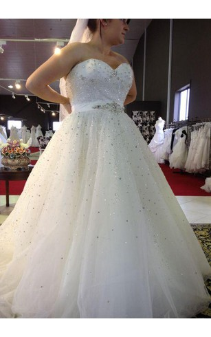 Gorgeous Strapless Ruffle Plus Size Wedding Dresses Floor Length Empire Chapel Sequins Bridal Gowns