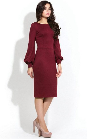 Bateau Long Puff Sleeve Sheath Jersey Knee Length Dress With U Back