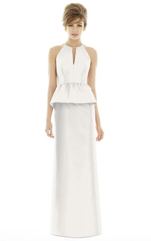 Floor-Length Column High-Neck Satin Dress with Keyhole and Pleats
