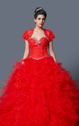 Classic Ruffled Lace and Tulle Quinceanera Dress