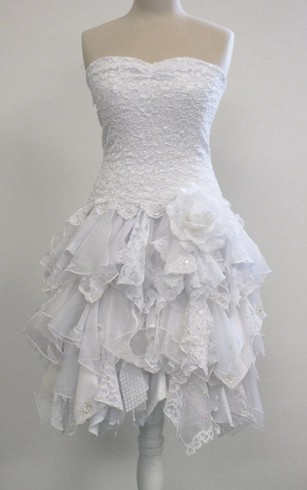Short A-Line Strapless Lace Dress With Ruffles and Matching Jacket