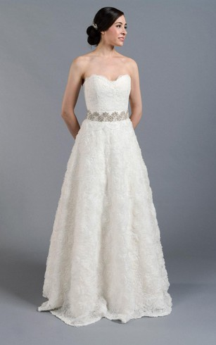 A Line Lace Sweetheart Strapless Dress With Beaded And Bow Sash