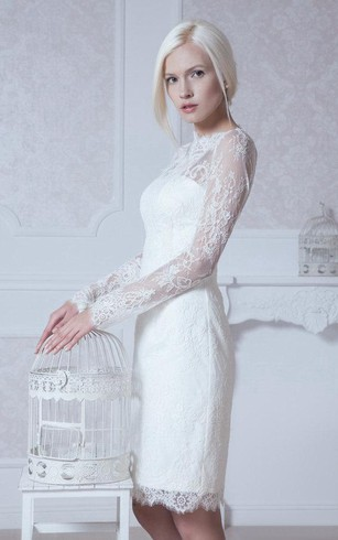 High Neck Long Sleeve Sheath Lace Knee Length Dress With Keyhole Back