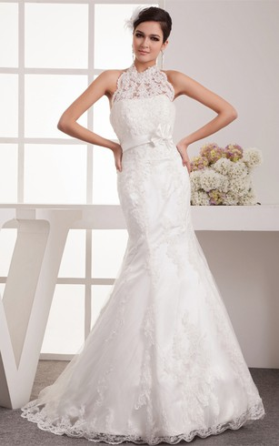 High & Tall Neck Wedding Dresses with Lace Fabric, High Collar Lace ...