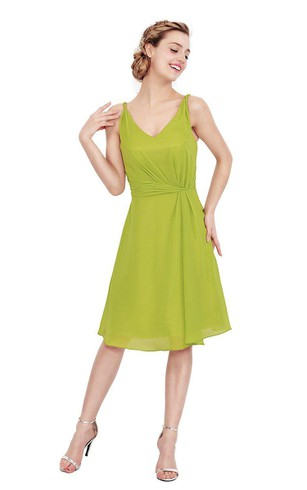 Simple Sleeveless A-line Ruched Chiffon Dress