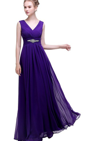 Purple Empire V-neck Beaded A-line Chiffon Dress With Low-v Back