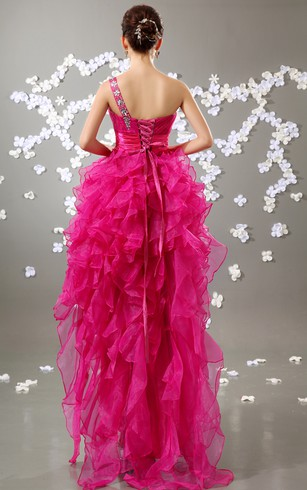 Organza High-Low Dress With Ruffled Skirt and Beading