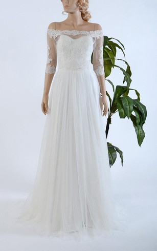 Off The Shoulder Half Sleeve Tulle Dress With Lace Bodice And Pleats