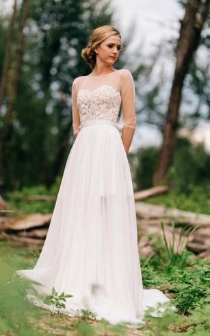 Detachable wedding dress dorris wedding sweetheart long sleeve chiffon tulle lace satin dress with illusion junglespirit Images