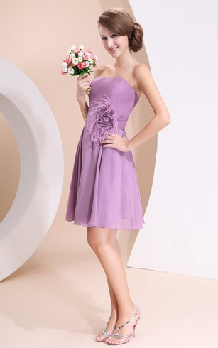 Strapless Chiffon Short Dress With Ruching Waist and Floor-Length