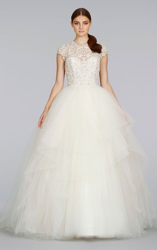 Delicate Cap Sleeve Tulle Ball Gown With Beaded Embroidery and Keyhole Back