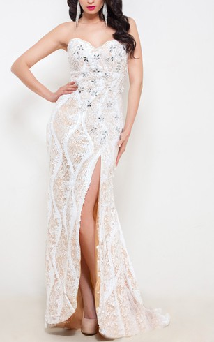 Mermaid Floor-Length Sweetheart Sleeveless Lace Beading Split Front Backless Dress