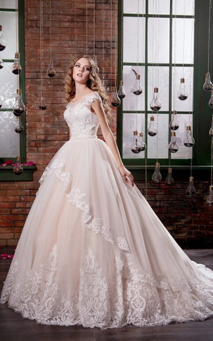 Ball Gown Long Scoop Short Sleeve Illusion Tulle Dress With Appliques And Draping
