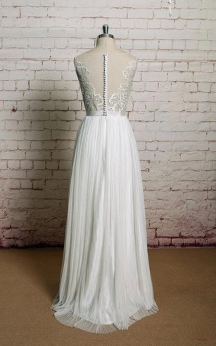 Jewel Neck A-Line Tulle Dress With Pleats and Illusion Back