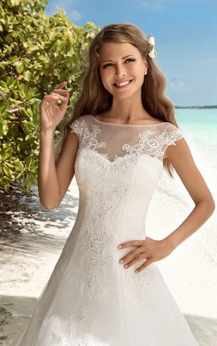 A-Line Floor-Length Bateau-Neck Short-Sleeve Corset-Back Lace Dress With Keyhole