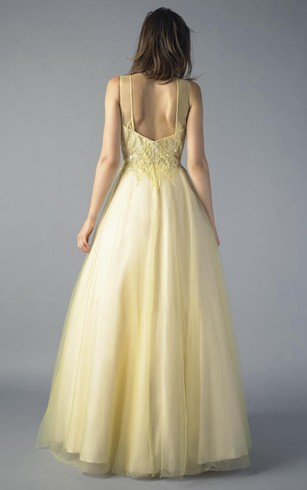 A-line Floor-length Jewel Sleeveless Tulle Zipper Dress