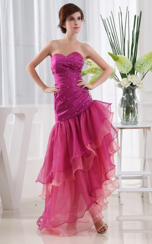 Sweetheart Ruched Dress With Beading And Asymmetrical Skirt